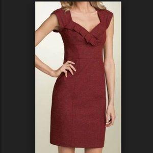 Nanette Lepore Red V Neck Twisted Tweed Dress